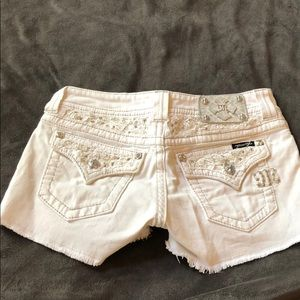 White Miss Me Shorts